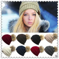 Wholesale Crochet Skull Caps - 9 Colors CC Knitted Hats CC Trendy Winter Beanies Warm Oversized Chunky Skull Caps Soft Cable Knitted Slouchy Crochet Hats CCA7349 30pcs