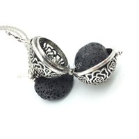 Wholesale Perfume Balls - Wholesale-5pcs Filligree Flower Aromatherapy Jewelry Pregnancy Ball Pendant Necklace Perfume Essential Oil Diffuser Locket With Lava Stone