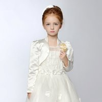 Wholesale Cape Jackets For Kids - Satin Girls Capes and Jackets with Long Sleeves for Kids Formal Wear in White Ivory Bolero