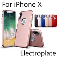 Wholesale Cell Phone Cases Abs - For iPhone X 8 7 6 Plus Soft TPU Case Electroplating Button 6 Colors ABS Protective Cell Phone Case Back Cover