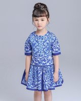 Wholesale Blue White Porcelain Clothing - Retail 2016 Summer Autumn Girl Dresses Half Sleeve blue and white porcelain Princess Dresses Children Clothing QZ828