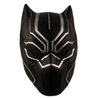 Wholesale Adult Captain America Mask - Black Panther Helmet Masks Halloween Prop Costume Party Movie Cosplay Captain America Civil War T'Challa Cosplay Resin Mask Free Shipping