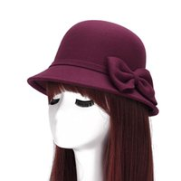 Wholesale Ear Bowler Hat Red - Women Cap Feminino Vintage Fedoras Hats Wool Bowler Bow Felt Hat with Ears Cloche Winter Retro Ladies Bucket Cap Chapeau MZ0668