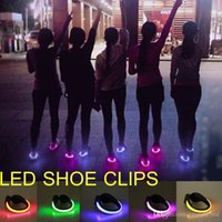 Wholesale Bulb Neon - Novel products Night Running LED shoe clips for bike cycling sport shoes safety signal Neon run LED Shoes