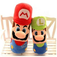 Wholesale Super Mario Brothers Plush Figures - Free Shiping Hot Sell 50cm Large Pillow Mario and Luigi Plush Pillow Super Mario Bros Brothers Luigi Plush Doll