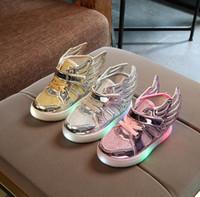 Wholesale Kids Shoe Wings Wholesale - Children Sneakers Kids LED Luminous Wings Shoes Girls Boys Baby Boys Girls Sneakers Light up Shoes KKA3582