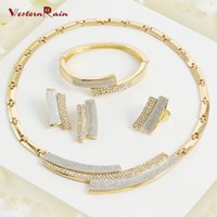 Wholesale Costume Rhinestone Necklace - Weaternrain 2017 fashion Wholesale African costume Gold Plated jewelry sets 18K gold plated fashion necklace sets Bridal Jewelry A006