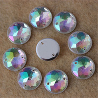 Wholesale Plastic Flat Circles - 12mm 200PCS AB Color Superior Taiwan Acrylic Flat Back Stones Round Circle Shape Acrylic Rhinestone Sew On 2 Hole Free shiping ZZ55