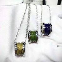 Wholesale Metal Titanium Necklaces - Fashion Blue Green Brown Titanium Steel Whorl Pendants Necklaces, Yellow gold Rose gold Silver 3 Metal colors Women   Men Chain
