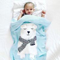 Wholesale Children Carpet - INS Cute White Bear Stereo Ear Blanket Children Knit Cover Carpet Beach Mat Baby Knit Carpet Three Colors