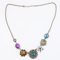 Wholesale Wholesale Gorgeous Jewerly - Fashion Vintage Women's Necklace Gorgeous Rhinestone 7 Flowers Pendant Jewerly Necklace -QJ