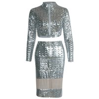 Moda sexy argento dea Club Dress con top e gonna in pelle sintetica PVC Hollow Holes Night Out Dress W373512C