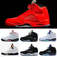 Wholesale Basket Fashion Men - Brand Basketball shoes 5 5s Mens Sports Olympic OG Gold Raging Blue Suede Red Suede Blakc Metallic Fashion Sneakers Cheap