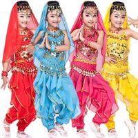 Wholesale Dance Pants Children - 4 pcs(top+Pants+belt+hand chain) Children Belly Dance Costumes Kids Belly Dancing dress Girls Ballroom Performance dancewear
