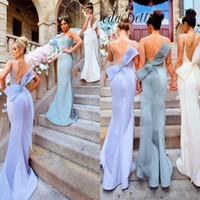 2017 New Mermaid Bridesmaid Dresses Sexy Backless Spaghetti Straps com grande arco Sash Long Wedding Guest Dresses Custom Made Evening Gowns