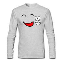 gülümseme yüz tişört toptan satış-Mürettebat Boyun T-Shirt Komik Gülen Yüz Ifadesi Baskılı T-Shirt Gri Siyah Beyaz Koyu Mavi Renk Gömlek Için
