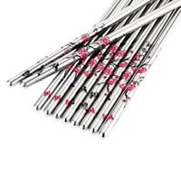 ingrosso set di chopstick cinese-5 paia / set bacchette cinesi in acciaio inox bastoncini per cibo prugna modello di fiore chop sticks posate posate kit per la casa