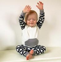 Wholesale Newborn Black Leggings - Wholesale Boys Girls Baby Clothing Sets Black White Hooded Tops Harem Pants 2 Pcs Set Cotton Newborn Pajamas Leggings Clothes Suits