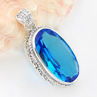 Wholesale Blue Topaz Necklaces - Free shipping --- Luckyshine 925 silver Blue crystal topaz crystal pendant for women gemstone jewelry 2pcs P0046