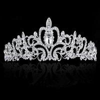 Wholesale Diamond Tiara Silver - Wedding Headdress Bride Headdress Wedding Headdress Hot Wedding High-grade Diamond Ornament Bride Headdress Fashion Wedding Elegant Crown
