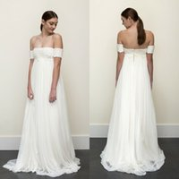 Wholesale Strapless Empire Waist Short Dress - 2016 Empire Waist Beach Wedding Dress Vintage Strapless Lace Top Boho Bohemian Bridal Gowns Cheap High Quality Bride Wear with Sleeves