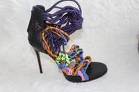 Wholesale D2 Multi Media - D2 Multicolor Japan Techno Sandals vary slightly platform super high heel sandal Women 120mm Swarovski Rope and Suede Sandals