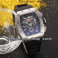 Super Clone Brand Luxury Watch Automatic Skeleton 011 Relógio para homens Silver Beze Black Dial Gent Watch Black Rubber Strap Mens Relógios de pulso RM01