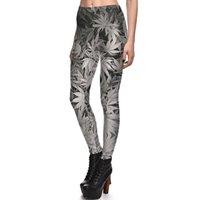 Wholesale sexy yoga pants online - 2017 NEW Black White Maple Leaf Prints Sexy Girl Pencil Yoga Pants GYM Fitness Workout Polyester Women Leggings Plus Size
