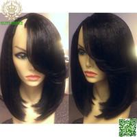 "Wholesale U Part Wig Brazilian Bob - Short Light Yaki Straight Glueless Human Hair Bob U Part Wig 100% Brazilian Hair Bob Upart Wigs Right U Shaped 1""x3"""