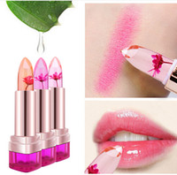 Wholesale jelly flower color changing lipstick online - 2016 Temperature Change Color Lip Color Waterproof Long lasting Sweet Transparent Jelly Flower Pink Moisturizer Lipstick