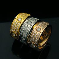 banda rosa de platina venda por atacado-3 linhas strass anéis, ouro 18k / rosa de ouro / platinadas titanium aço inoxidável mulheres / homens wedding band jóias de luxo