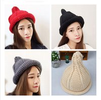 Wholesale Knit Hats Beads - 2016 new fashionable men and women hand-knitted hat wool cap pointy hat fisherman caps wholesale bead twist