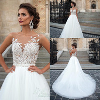 Wholesale Lace Line Wedding Dress Sheer Top - 2016 Cheap Vintage Lace Wedding Dresses Sheer Neck Lace Top Tulle Floor Length Bridal Gowns Custom Made Beach Wedding Gowns Cheap White Gown