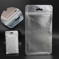 Wholesale Plastic Weave Bag - 10*18 11*20 12*22cm Non-woven Resealable Ziplock Plastic Retail Packaging Bag mobile phone Usb cable headphones iphone6 6s  plus bags Silver