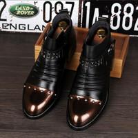 hombres negros de moda de los cargadores opiniones - hombres de charol negro zapatos hechos a mano con diferentes formas remaches Moda hombre holgazanes de los hombres pisos hombre de moda Martin botas Z402