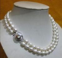 Wholesale pearl real akoya - CHARMING NATURAL 2 row 10-13MM AKOYA REAL WHITE BAROQUE PEARL NECKLACE