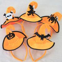 ingrosso streghe cappello fascia-Decorazioni di Halloween Strega Cappello fascia Dance Performing Party Witch Dress Up Witch Cap Pumpkin Cracked Hat 5 stampe