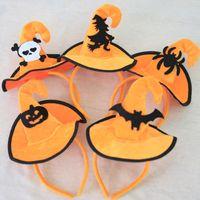 disfraces de navidad para niños al por mayor-Decoración de Halloween Sombrero de bruja diadema Baile de la fiesta de ejecución Bruja Dress Up Sombrero de bruja calabaza Cracked Hat 5 impresiones