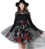 Wholesale Lady S Bottom Skirt - New Hot Good Selling Ladies Women Casual fashion Embroidery Lace Stitching Slim Long-sleeved Bottoming Dress Skirt 2272
