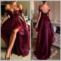 2017 Aus der Schulter Burgund Prom Kleider High-Low Lace Appliques Organza Rock Backless Vintage Abend Party Kleider