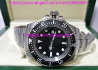 Wholesale Automatic 44mm - Two styles High Quality 116660 44mm Sea-Dweller black Ceramic bezel Glidelock Clasp Automatic Mens Watch Watches Original Box Papers