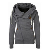 Wholesale Nice Tracksuits - Nice Fashion New European Personality Women Hoodies Sports Suit Side Zipper Hooded Sweashirt Women Jacket Big Size XL Tracksuits