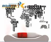 ingrosso disegno di carta di europa-Nuovo inglese lettere mappa del mondo carta da parati grande commercio estero carta da parati in grado di rimuovere gli adesivi murali muro adesivo sfondo muro