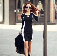 Wholesale Korean Chiffon Mini Dress - The new Korean version of the autumn and winter dress round neck long-sleeved stitching hit color chiffon backing skirt