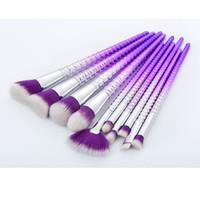 Wholesale Top Hair Sellers - Top quality purple hair purple handle 10pcs makeup brushes makeup tools free shipping dhgate vip seller