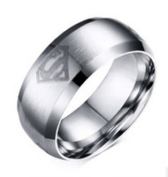 Wholesale Comfort Day - Titanium Steel Comfort Fit Smooth Surface Superman Wedding Band Classical Super Hero Logo Men's Band Ring for Men