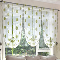 Wholesale Yarn Curtains - New Arrival Shades Tree Printed Roman Blinds Short Curtain Curtains For Kitchen Coffee Tulle Yarn Sheer Curtains Cortinas For Skylight