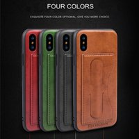 Wholesale Green Luxury Cars - For Apple iPhone X 8 7 6 Plus TPU+PC+PU Material Luxury Leather Card Bracket Car Protective Cover Creative Design For Samsung S8 Plus