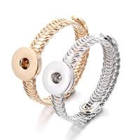 noosa zencefil ek düğmeleri toptan satış-Kadınlar Erkekler için Noosa Altın Gümüş Metal Snap Buton Bileklikler Bilezikler Fit 18mm Zencefil Snap Düğme Mücevher