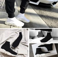 Wholesale Cheap Men Name Brand Sneakers - 2017 Name Brand High Quality Speed Trainer Casual Shoe Man Woman Sock Boots With Box Stretch-Knit Casual Boots Race Runner Cheap Sneaker